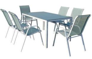 Levný zahradní set se 6 židlemi a skleněným stolem