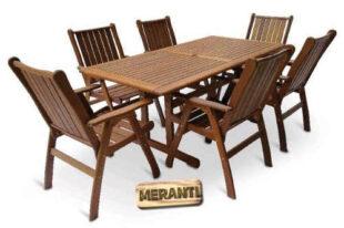 Luxusní zahradní set se šesti židlemi z tropického dřeva Meranti