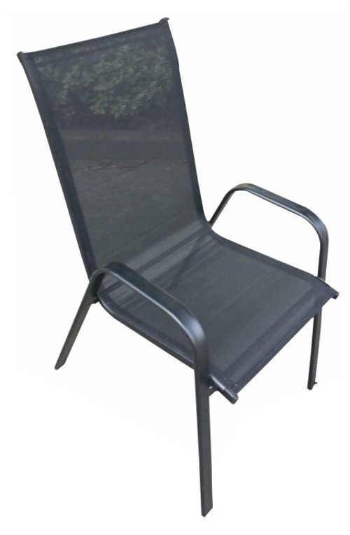Tmavě šedá kovová stohovatelná zahradní židle ALDERA
