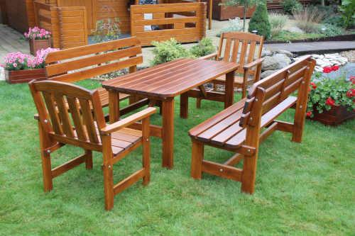 venkovní sestava nábytku ze dřeva