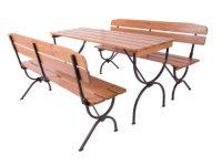 Prostorná zahradní dřevěná sestava 2 lavice + stůl