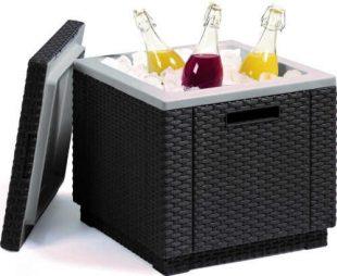 Zahradní chladnička taburet v ratanovém designu